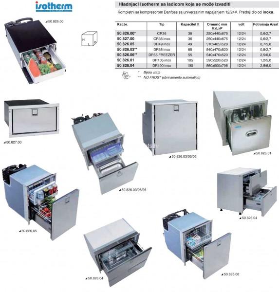 Marine refrigerator - dr55 isotherm fridge freezer 55L stainless